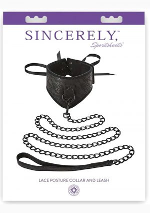 Sincerely Sportsheets Lace Posture Collar And Leash Black