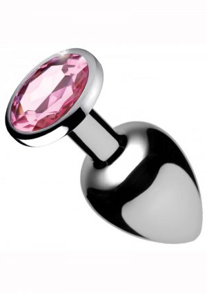Booty Sparks Aluminum Alloy Small Anal Plug Pink Gem  2.6 Inch