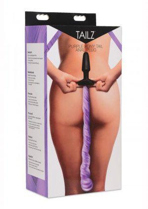 Tailz Pony Tail Anal Plug Silicone Purple 4.25 Inches