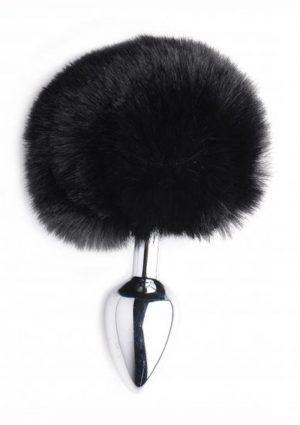 Tailz Onyx Bunny Tail Anal Plug Black 4.2 Inches