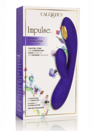 Impulse Intimate E-Stimulator Dual Wand Silicone Rechargeable Waterproof Purple