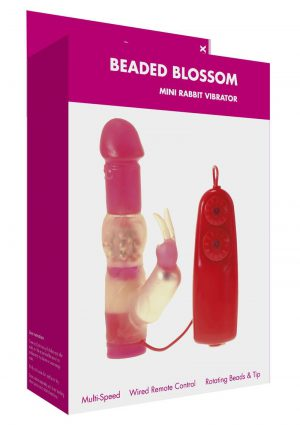 Minx Beaded Blossom Wired Remote Control Jelly Mini Rabbit Vibrator Red