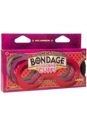 Japanese Style Bondage Silicone Cuffs Large Black 6.9 Inch