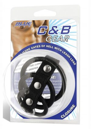 Blue Line C and B Gear 3 Ring Silicone Gates Of Hell With Leash Lead Black