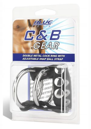 Blue Line C and B Gear Double Metal Cock Ring With Adjustable Snap Ball Strap