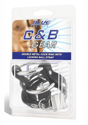 Blue Line C and B Gear Double Metal Cock Ring With Locking Ball Strap