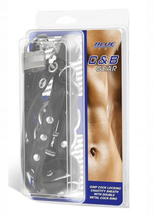 Blue Line C and B Gear Gimp Cock Locking Chastity Sheath With Double Metal Cock Ring