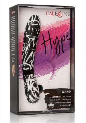 Hype Wand USB Rechargeable Vibe Waterproof 4.75 Inch Black And White