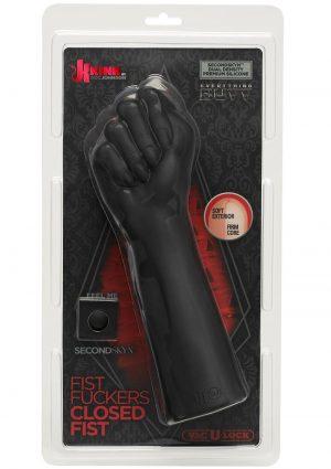 Kink Fist Fuckers Closed Fist Dual Density Silicone Probe Black 10 Inch