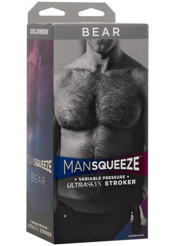 Man Squeeze Bear Variable Pressure Ultraskyn Stroker Anal Masturbator Vanilla 8 Inch