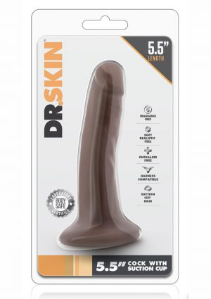 Dr. Skin Realistic Cock With Suction Cup Chocolate 5.5 Inch