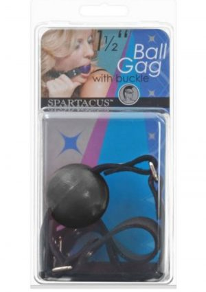 Small Ball Gag With Buckle 1.5 Inch Black