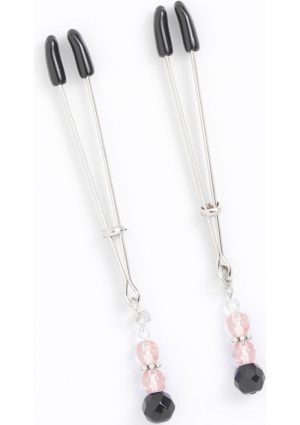 Pink Beaded Nipple Clamps With Tweezer Tip Pink