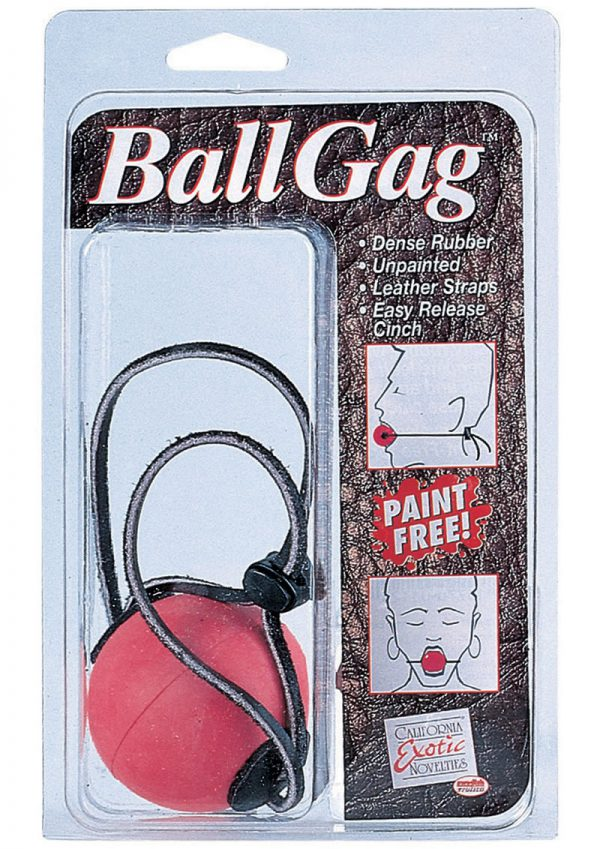 Ball Gag Red with Leather Straps