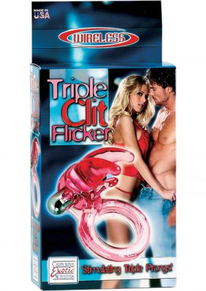 Triple Clit Flicker Cock Ring Red