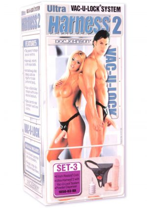 Vac U Lock Ultra Harness 2 And Plug With Dong 8 Inch Flesh