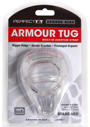Armour Gear Armour Tug Cockring With Built in Scrotum Strap Clear Standard Size