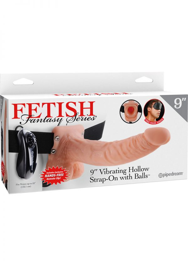Fetish Fantasy Series Vibrating Hollow Strap On With Balls Wired Remote Flesh 9 Inch
