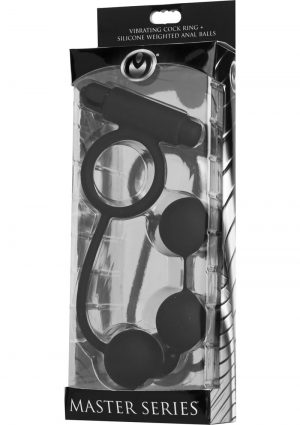 Master Series Tri Orb Vibrating Cock Ring Plus Silicone Weighted Anal Balls Black 6.25 Inch