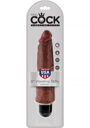 King Cock Vibrating Stiffy Realistic Dildo Waterproof Brown 8 Inch