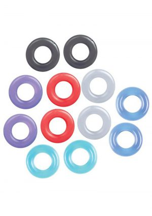 The 9`s Baller`s Dozen Cock Rings Assorted Colors 12 Individually Wrapped Per Box