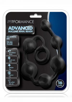 Performance Silicone Anal Beads 16 Inch Black