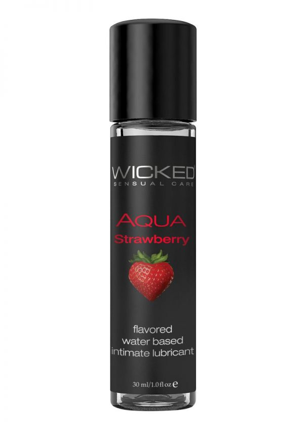 Wicked Aqua Strawberry Lube 1oz Water Based