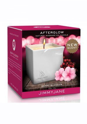 JimmyJane Afterglow Natural Massage Oil Candle Berry Blossom 4.5 Ounces