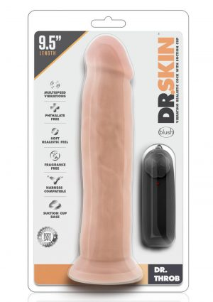 Dr Skin Dr Throb Vibe Cock W/suction Vanilla 9.5 inch