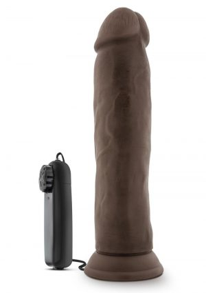 Dr Skin Dr Throb Vibe Cock W/suction Chocolate 9.5 inches
