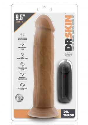 Dr Skin Dr Throb Vibe Cock W/suction Mocha Remote Control