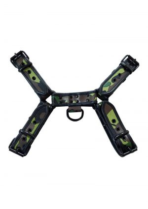 Rouge OTH-Front Harness Leather Camouflage With Black Piping And Black Buttons X-Large