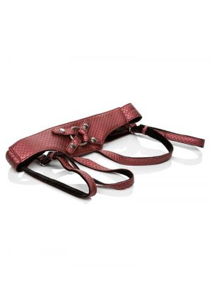 Her Royal Harness The Regal Empress Crotchless Vegan Leather Adjustable Harness Red Up To 64 Inches