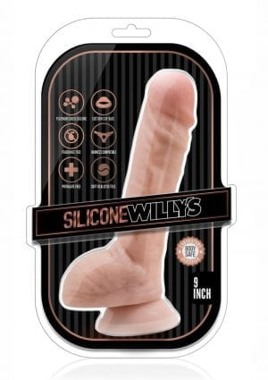 Silicone Willy`s Non Vibrating Realistic Dildo With Balls Flesh 9 Inch