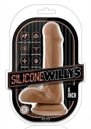 Silicone Willy`s Non Vibrating Realistic Dildo With Balls Mocha 6 Inch