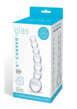 Curved Beaded Dildo Glass Clear 5 Inches