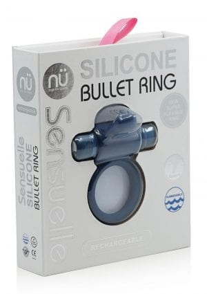 Sensuelle Silicone Bullet Ring With Clit Stimulator Rechargeable Multi Speed Blue