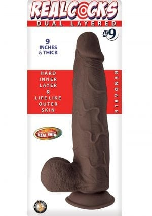 Realcocks Dual Layered #9  Bendable Realistic Dong Waterproof 9 Inches  Dark Brown