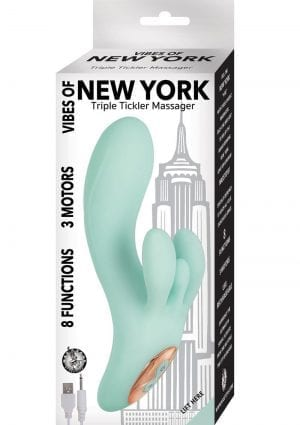 Vibes Of New York Triple Tickler Massager Vibrator Waterproof Rechargeable Aqua