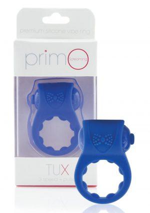 Primo Tux Silicone Vibrating Ring - Blue
