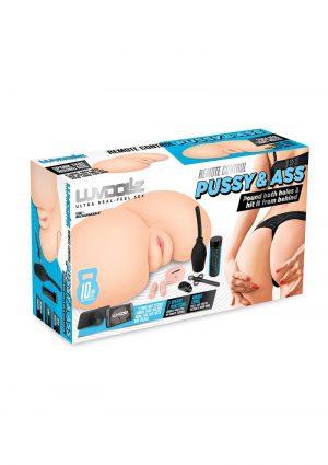 LuvDollz Vibrating Masturbator With Remote Control - Butt - Vanilla