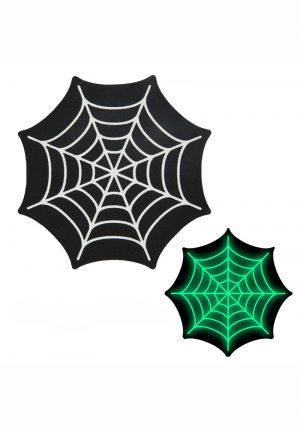 Peekaboo Glow In The Dark Webs Pasties – Black/Green