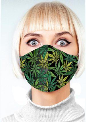 Super Fun Pot Leaf Mask – Green/Black