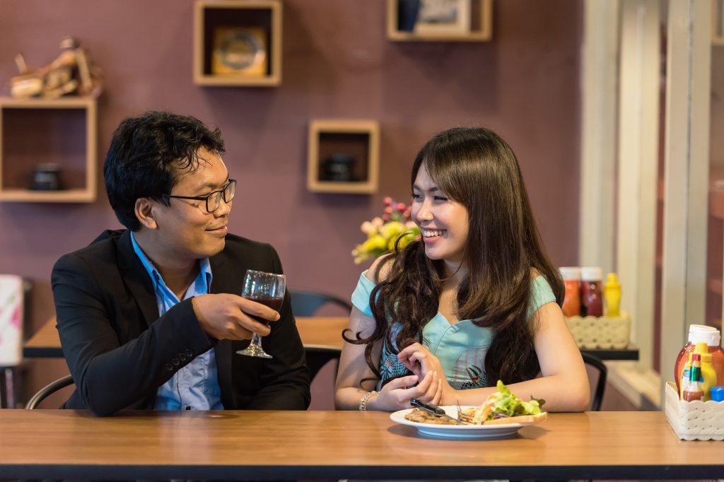 restaurant, flirting, couple