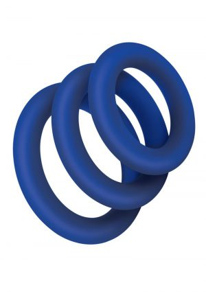 Zolo Extra Thick Silicone Cock Ring 3pk – Navy