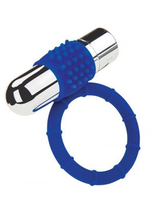 Zolo Rechargeable Vibrating Silicone Cock Ring – Navy/Silver