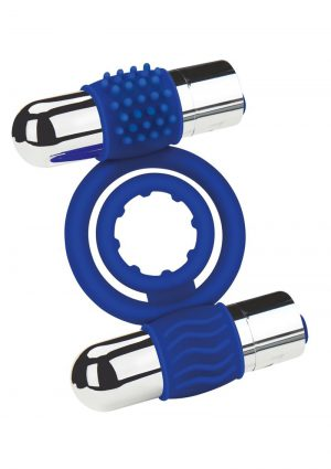 Zolo Rechargeable Duo Vibrating Silicone Cock Ring – Navy/Silver
