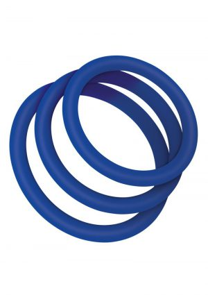 Zolo Stretchy Silicone Cock Ring (3 pack) – Navy
