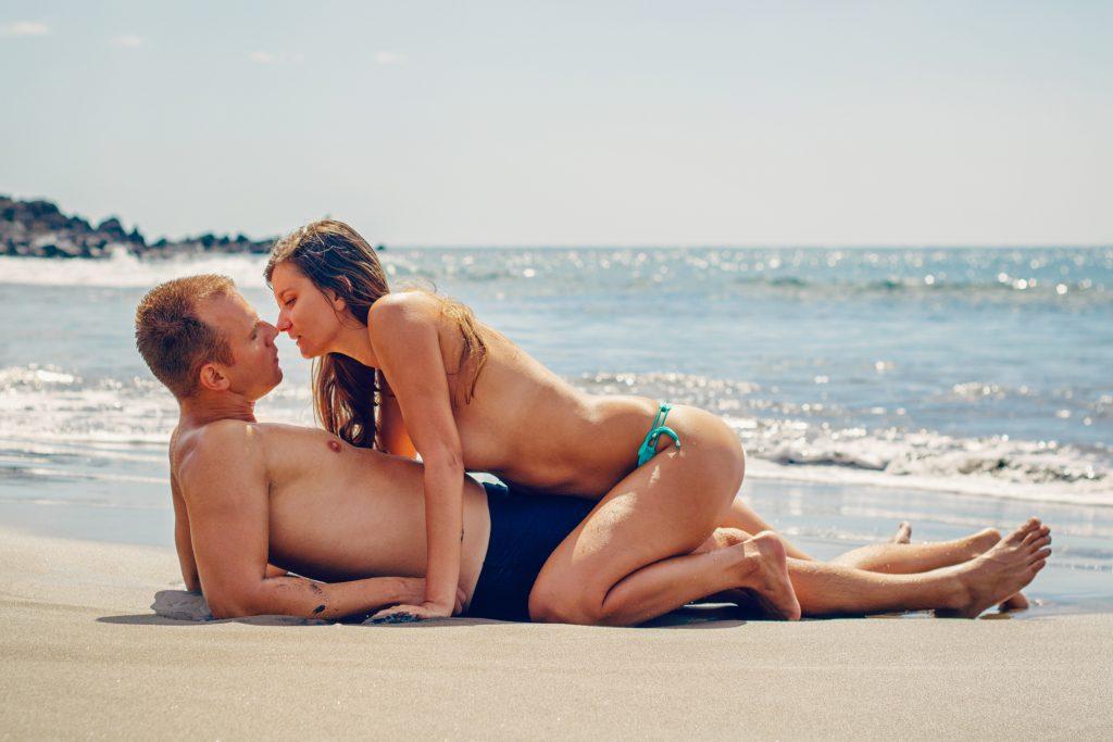 Beach bikini couple enjoyment