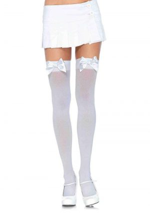 Leg Avenue Nylon Thigh High With Bow – Plus Size – White